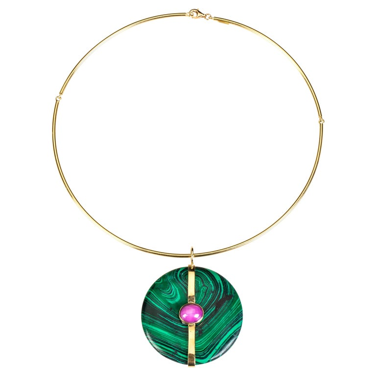 Malachite Ruby Gold Pendant For Sale