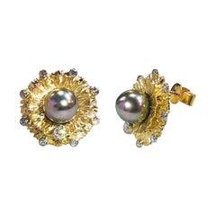 "Paul Amey 18k Gold, Diamond and Black Pearl ""Carnation"" Stud Earrings"