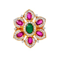 3.00 Carat Ruby Emerald and Diamond 18kt Yellow Gold Floral Cocktail Ring