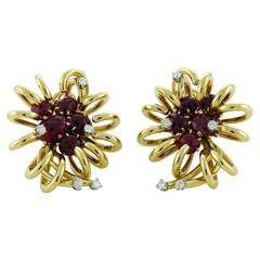 David Webb Cabochon Ruby Diamond Gold Earrings