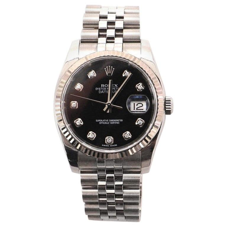 Rolex Oyster Perpetual Datejust Automatic Watch Stainless Steel and White Gold For Sale