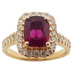 Rubellite with Diamond Ring Set in 18 Karat Rose Gold Settings