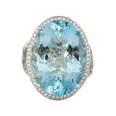 17.5 Carat Aquamarine and Diamond Ring in 18 Karat White Gold