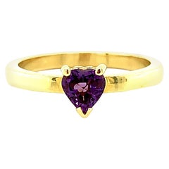 Heart Shaped Amethyst Yellow Gold Stackable Solitare Band Ring