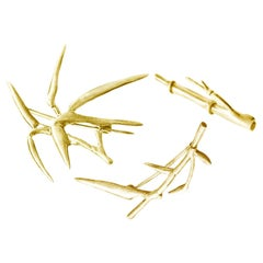 18 Karat Yellow Gold Bamboo Brooch Triptych by the Artist, Featured in Vogue