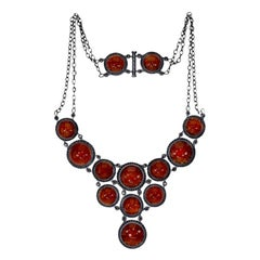 Alex Soldier Carnelian Spinel Oxidized Sterling Silver Necklace One of a Kind