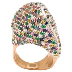 1980's Multicolored Stones with Fancy Diamonds Large Rose Gold Cocktail Ring