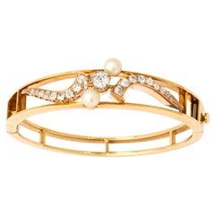 Edwardian Diamonds with Pearl Elegant Gold Bangle Bracelet