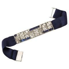 Art Deco Square Cut Sapphire with Diamonds Platinum Elegant Ribbon Bracelet