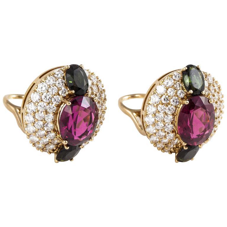 Hammerman Bros. Tourmaline Diamond Gold Earrings