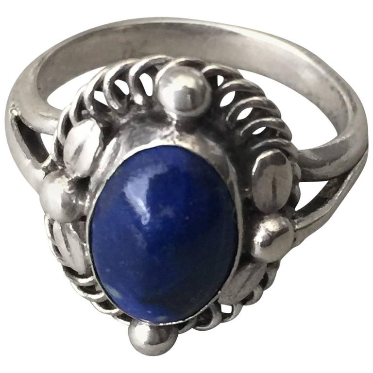 Georg Jensen 830 Lapis Lazuli Silver Ring No. 1 For Sale