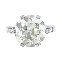 Retro GIA 6.20ct Old European Cut Diamond Engagement Ring Platinum