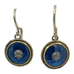 Victorian Mine Cut Diamond Enamel Earrings 14 Karat Gold Dangle Drop Earrings