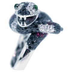 Modern Ruby Garnet White and Black Diamond Gold Snake Ring