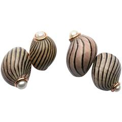Pearl Gold and Shell Cufflinks