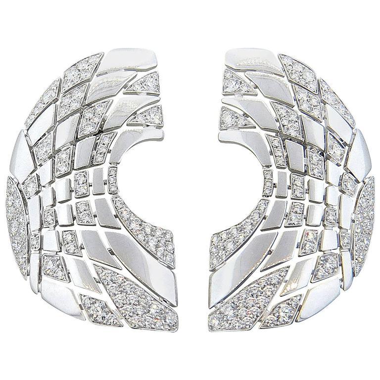 Large Palmiero Diamond Gold Earrings