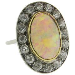 Antique Opal Diamond Gold Ring