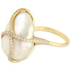 23.64 Carat Pearl Diamond 18 Karat Gold Ring