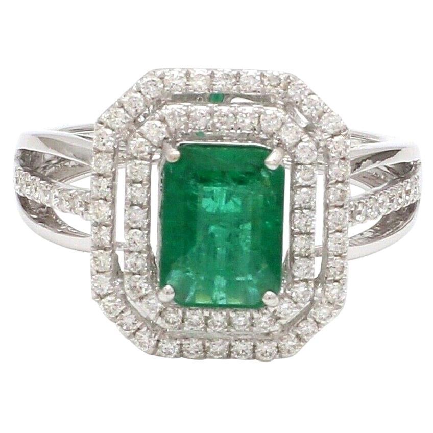 1.27 Carat Emerald Diamond 18 Karat White Gold Ring