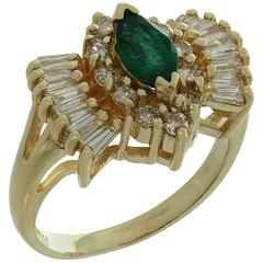 Marquise Emerald Diamond Gold Ring