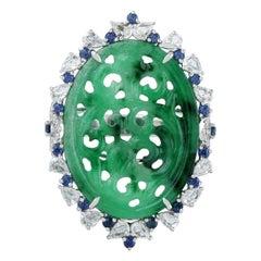 Hand Carved Jade Blue Sapphire 18 Karat Gold Diamond Ring