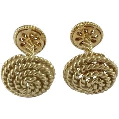 Gold Twisted Rope Circle Cufflinks