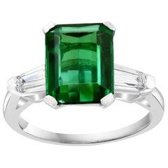 3.5 Ct Natural Emerald Cut Green Tourmaline & Diamond Ring 18KW Gold