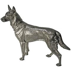 1900 WMF Silver Plate Alsatian German Shepherd Dog