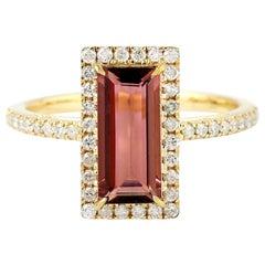 Tourmaline Diamond 18 Karat Gold Ring