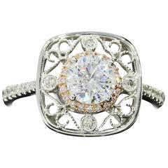 Simon G Floral Diamond Gold Halo Ring