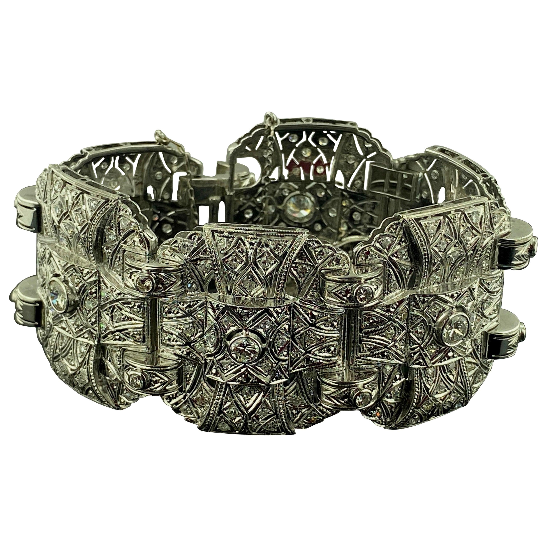 Wide Platinum and Diamond Bangle Bracelet