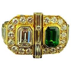 Emerald Cut Diamond, Tsavorite and Diamond Ring in Yellow Gold