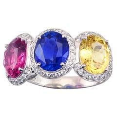 Certified No Heat Three Stone Sapphire, Diamond & Platinum Ring by Leon Mason Co