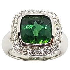 Green Tourmaline with Diamond Ring Set in 18 Karat White Gold Settings