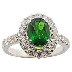 Tsavorite with Diamond Ring Set in 18 Karat White Gold Settings