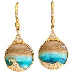 Opalized Wood, Diamonds, 18kt Gold Earrings by Lauren Harper