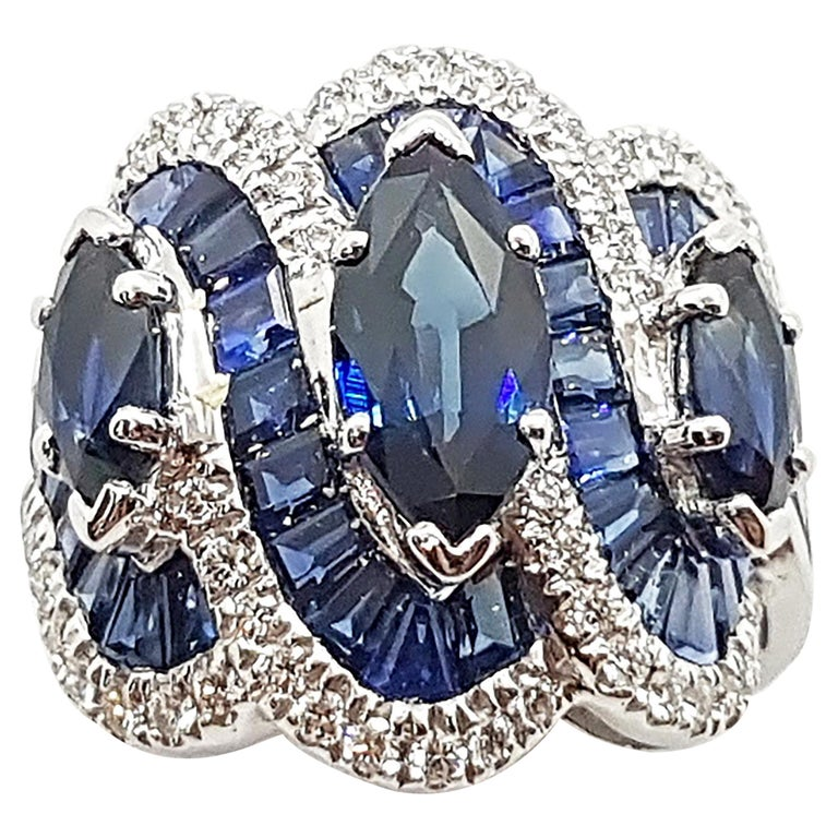 Blue Sapphire with Diamond Ring Set in 18 Karat White Gold Settings For Sale