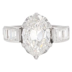 Vintage 1950's 2.00 Carat GIA Oval Cut Diamond Engagement Ring
