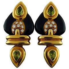 Tourmaline Black Onyx Diamond 18K Yellow Gold Earrings