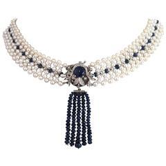 Pearl Sapphire Diamond Woven Necklace