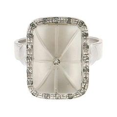 Handcraft Rock Crystal 18 Karat White Gold Diamonds Cocktail Ring