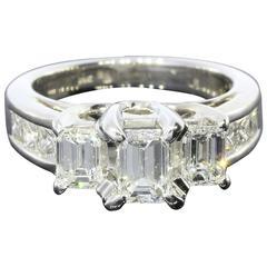 Three-Stone Emerald Cut Diamond Gold Engagement Ring