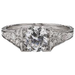 .93 Carat Art Deco Diamond Platinum Ring
