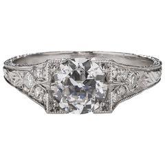 .93 Carat Art Deco Diamond Platinum Ring