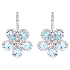 18 Karat White Gold 7.86 Carat Aquamarine and Diamond Flower Dangle Earrings
