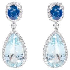 18 Karat White Gold Aquamarine, Blue Sapphire and Diamond Cocktail Drop Earrings