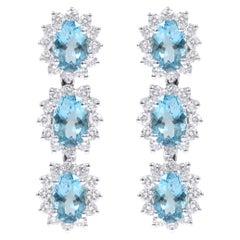 18 Karat White Gold 3.78 Carat Aquamarine and Diamond Cluster Dangle Earrings