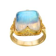 Steven Battelle 12.5 Carats Rainbow Moonstone 18K Gold Ring