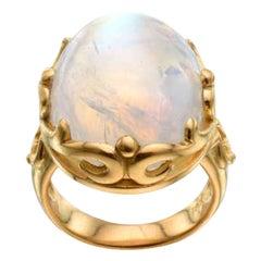 Steven Battelle Large 33.3 Carats Cabochon Rainbow Moonstone 18K Gold Ring