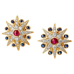 Syna Cosmic Earrings with Rubies, Blue Sapphires and Champagne Diamonds